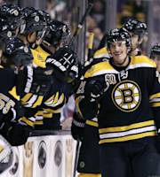 Boston Bruins left wing Loui Eriksson is congratulated by teammates after his goal against the Columbus Blue Jackets during the first period of an NHL hockey game, in Boston, Thursday, Nov. 14, 2013. (AP Photo/Charles Krupa)