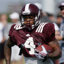 In this Aug. 2, 2014 photo, Mississippi State wide receiver Jameon Lewis runs upfield during a drill during NCAA college football practice in Starkville, Miss. Lewis was such a versatile playmaker last season that he accounted for a passing, rushing and r