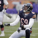 Chicago Bears defensive end Jared Allen (69) celebrates after tackling Minnesota Vikings quarterback Teddy Bridgewater during the first half of an NFL football game Sunday, Nov. 16, 2014 in Chicago The Associated Press