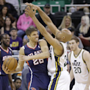 Utah Jazz's Richard Jefferson (24) defends against Atlanta Hawks' Kyle Korver (26) in the first quarter during an NBA basketball game Monday, March 10, 2014, in Salt Lake City The Associated Press