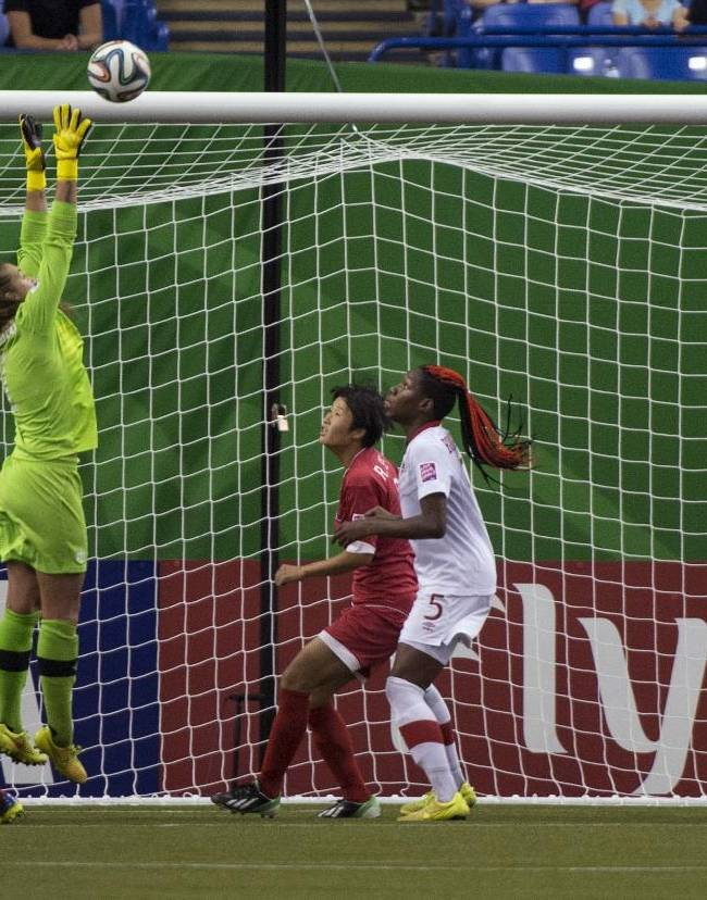 Canada goal keeper Kailen Sheridan makes a save as they face North Korea during second half FIFA U20 Women's World Cup soccer action Tuesday, Aug. 12, 2014 in Montreal. Canada won 1-0