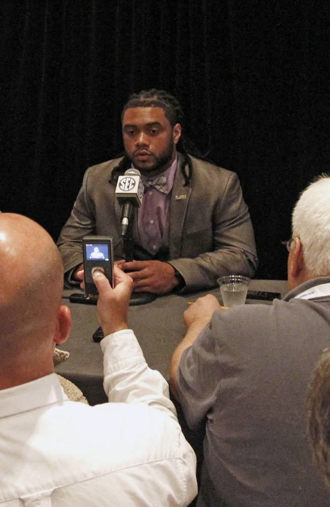 LSU running back Terrence Magee speaks to media at the Southeastern Conference NCAA college football media days on Wednesday, July 16, 2014, in Hoover, Ala