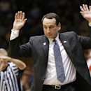 Duke coach Mike Krzyzewski is called for a technical foul during the second half of an NCAA college basketball game against Michigan in Durham, N.C., Tuesday, Dec. 3, 2013. Duke won 79-69 The Associated Press