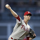Philadelphia Phillies starting pitcher Kyle Kendrick throws to a Los Angeles Dodgers batter during the first inning of a baseball game Thursday, April 24, 2014, in Los Angeles The Associated Press