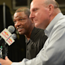 LOS ANGELES, CA - AUGUST 18: Steve Ballmer and Doc Rivers of the Los Angeles Clippers speak to the media at STAPLES Center on August 18, 2014 in Los Angeles, California. (Photo by Andrew D. Bernstein/NBAE via Getty Images)