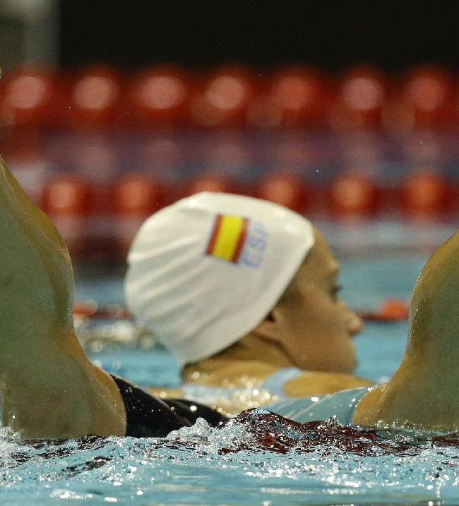 Spain's Judit Ignacio Sorribes leaves the pool after a women's 200m butterfly heat at the LEN Swimming European Championships in Berlin, Germany, Saturday, Aug. 23, 2014