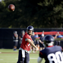 Houston Texans quarterback Ryan Fitzpatrick, left, throws a pass to wide receiver Andre Johnson (80) during an NFL football training camp one Saturday, July 26, 2014, in Houston The Associated Press