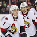 Ottawa Senators forward Kyle Turris (7) skates near defenseman Erik Karlsson, of Sweden, after Turris scored a goal during the first period of an NHL hockey game against the Detroit Red Wings in Detroit, Mich., Monday, Nov. 24, 2014 The Associated Press