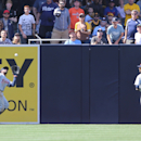 Detroit Tigers left fielder Rajai Davis makes the out on this long fly ball by San Diego Padres' Rene Rivera during the sixth inning of a baseball game on Sunday, April 13, 2014, in San Diego The Associated Press