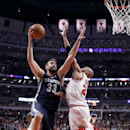 Memphis Grizzlies center Marc Gasol (33) shoots over Chicago Bulls' Taj Gibson (22) during the second half of an NBA basketball game on Friday, March 7, 2014, in Chicago. The Grizzlies won 85-77 The Associated Press