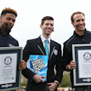 IMAGE DISTRIBUTED FOR VISA - Left to right, New York Giants' Odell Beckham Jr., Guinness World Records adjudicator Alex Angert and New Orleans Saints' Drew Brees after setting the Guinness World Record for the most one handed catches in one minute with 33