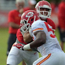Kansas City Chiefs Anthony Fasano (80) blocks out Justin Houston (50) during a NFL training camp, Wednesday, July 30, 2014 on the Missouri Western State University campus in St. Joseph. Mo The Associated Press