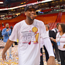 MIAMI, FL - JUNE 20: Dwyane Wade #3 of the Miami Heat celebrates following his team's victory against the San Antonio Spurs during Game Seven of the 2013 NBA Finals on June 20, 2013 at American Airlines Arena in Miami, Florida. (Photo by Jesse D. Garrabrant/NBAE via Getty Images)
