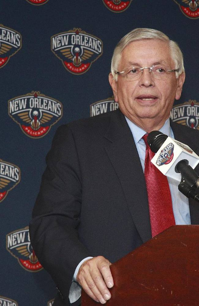 NBA Commissioner David Stern speaks at a news conference prior to the start of the New Orleans Pelicans  Los Angeles Lakers game in New Orleans, Friday, Nov. 8, 2013