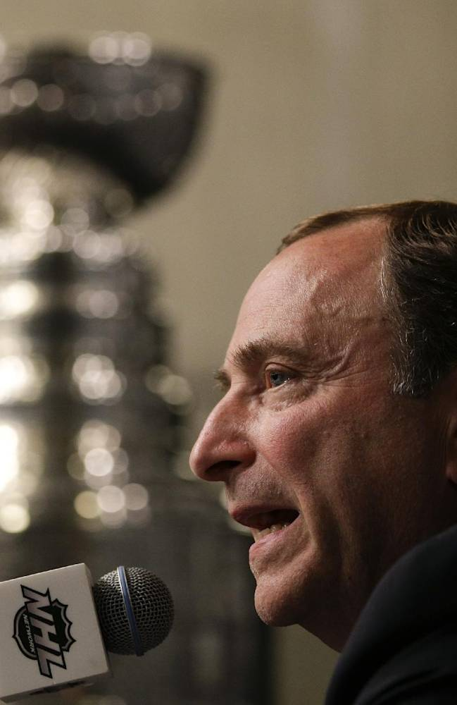 NHL Commissioner Gary Bettman speaks during a news conference before Game 1 of the NHL Stanley Cup Final hockey series between the Los Angeles Kings and the New York Rangers on Wednesday, June 4, 2014, in Los Angeles
