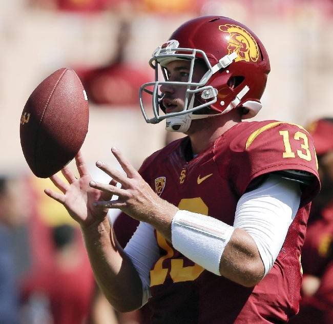 Southern California quarterback Max Wittek warms up before an NCAA college football game against Boston College in Los Angeles, Saturday, Sept. 14, 2013
