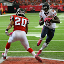 101214 ATLANTA: Bears wide receiver Josh Morgan(19) gets in the endzone past Falcons safety Dwight Lowery during the second quarter of their NFL football game on Sunday, Oct. 12, 2014, in Atlanta The Associated Press