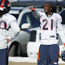In this Jan. 8, 2015, photo, Denver Broncos safety David Bruton Jr., left, talks with cornerback Aqib Talib during a team practice for an NFL football divisional playoff game against the Indianapolis Colts on Sunday, Jan. 11, in Englewood, Colo The Associ