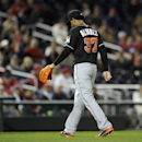 Miami Marlins starting pitcher Henderson Alvarez (37) walks towards the dugout after he was pulled during the sixth inning of a baseball game against the Washington Nationals, Tuesday, April 8, 2014, in Washington. The Nationals won 5-0 The Associated Pre