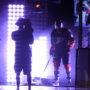 Anaheim Ducks center Nate Thompson, right, is introduced prior to the Ducks' NHL hockey game against the Minnesota Wild, Friday, Oct. 17, 2014, in Anaheim, Calif The Associated Press