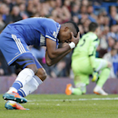 Chelsea's Samuel Eto'o reacts after missing a chance to score against Sunderland uring an English Premier League soccer match at the Stamford Bridge ground in London, Saturday, April 19, 2014. Sunderland won the match 2-1
