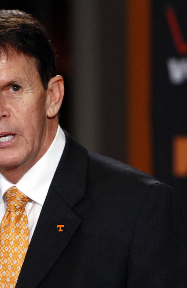In this Dec. 7, 2012, file photo, Tennessee Athletics Director Dave Hart speaks during an NCAA college football new conference  in Knoxville, Tenn. Tennessee is upgrading its facilities and has iboosted its classroom performance and Hart believes it's only a matter of time before the Vols' also start showing more progress on the field as they attempt to bounce back from a worst-ever 40th-place finish in the Directors Cup standings