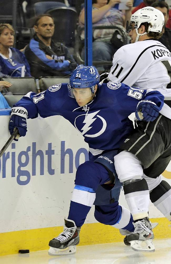 Tampa Bay Lightning center Valtteri Filppula, left, of Finland, gets hit by Los Angeles Kings center Anze Kopitar, of Slovenia, during the second period of an NHL hockey game Tuesday, Oct. 15, 2013, in Tampa, Fla