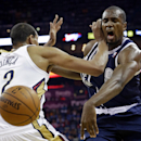Oklahoma City Thunder forward Serge Ibaka (9) is fouled by New Orleans Pelicans center Alexis Ajinca (42) in the first half of an NBA basketball game in New Orleans, Monday, April 14, 2014 The Associated Press