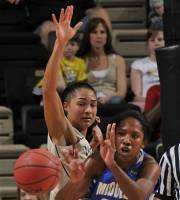 Vanderbilt guard Elan Brown, left, pressures Middle Tennessee forward Ebony Rowe (21) during the first half of an NCAA women's college basketball tournament first-round game, Sunday, March 18, 2012, in Nashville, Tenn. (AP Photo/John Russell)