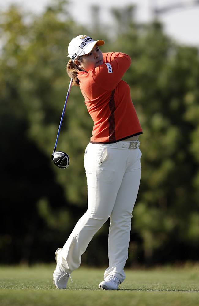 Inbee Park of South Korea watches her shot on the second hole during the final round of the KEB Hana Bank Championship golf tournament at Sky72 Golf Club in Incheon, west of Seoul, South Korea, Sunday, Oct. 20, 2013