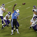 Minnesota Vikings quarterback Christian Ponder, top left, passes over the reach of Tennessee Titans defensive tackle DaQuan Jones (75) in the third quarter of a preseason NFL football game Thursday, Aug. 28, 2014, in Nashville, Tenn The Associated Press