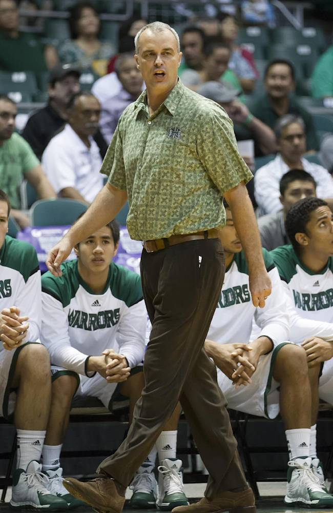 Hawaii head coach Gib Arnold watches his team play St. Mary's in the first half of an NCAA college basketball game at the Diamond Head Classic Monday, Dec. 23, 2013, in Honolulu