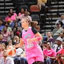 SAN ANTONIO - August 1: Becky Hammon #25 of the San Antonio Stars handles the ball against the Connecticut Sun at the AT&T Center on August 1, 2014 in San Antonio, Texas