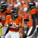 Denver Broncos quarterback Peyton Manning (18) yells at teammate Demaryius Thomas (88) during the second half of an NFL football game against the Kansas City Chiefs, Sunday, Sept. 14, 2014, in Denver The Associated Press