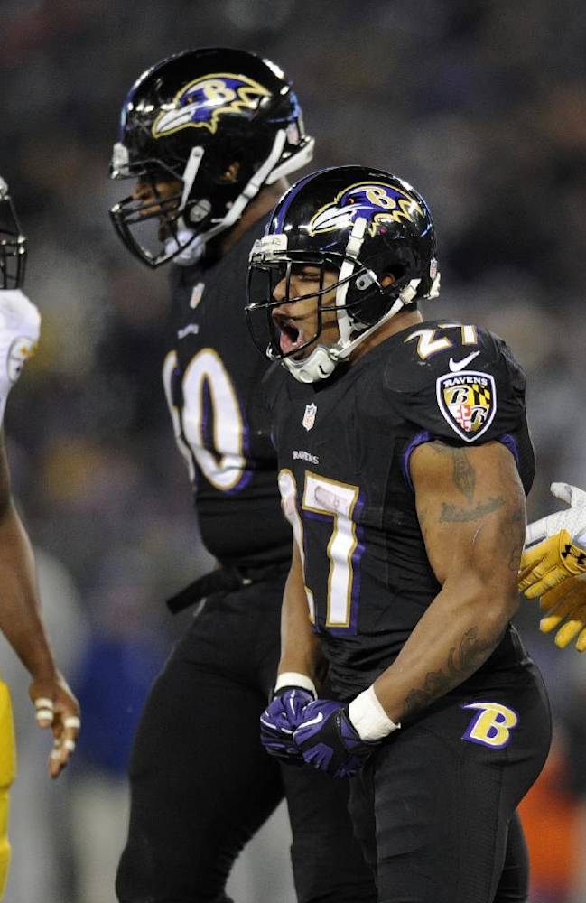 Baltimore Ravens running back Ray Rice (27) reacts after rushing the ball in the second half of an NFL football game against the Pittsburgh Steelers, Thursday, Nov. 28, 2013, in Baltimore