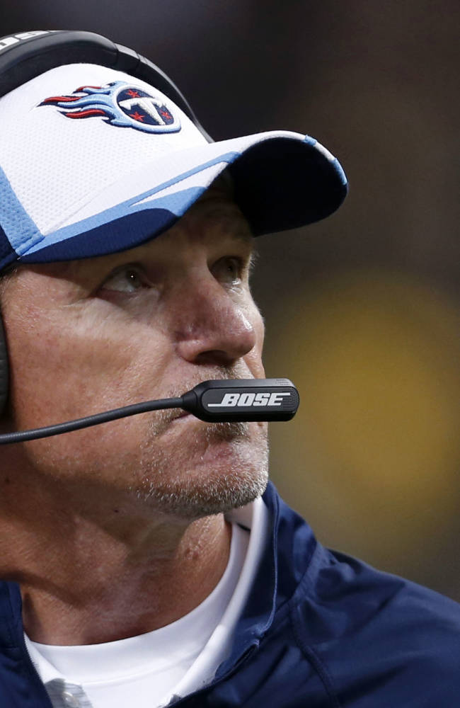 In this Aug. 15, 2014, file photo, Tennessee Titans head coach Ken Whisenhunt works the sideline during the first half of a preseason NFL football game against the New Orleans Saints in New Orleans. Whisenhunt could be worried about all the turnovers in Tennessee's second preseason game. But the defense has given up an opening touchdown drive in each of the Titans' first two exhibitions, to backup quarterbacks
