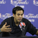 Miami Heat head coach Erik Spoelstra gestures as he speaks to members of the media during a news conference before team basketball practice, Wednesday, June 19, 2013 at the American Airlines Arena in Miami. The Heat and the San Antonio Spurs play Game 7 of the NBA Finals Thursday. (AP Photo/Wilfredo Lee)