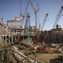 An overall view of the construction progress on the interior of the new Vikings stadium Monday, Oct. 20, 2014. Nine months after the old Metrodome was demolished, officials say the new stadium is 23 percent complete as of the end of September The Associa