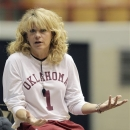Oklahoma head coach Sherri Coale watches her team warm up during practice for a first-round game of the women's NCAA college basketball tournament Friday, March 22, 2013, in Columbus, Ohio. Oklahoma will play Central Michigan on Saturday. (AP Photo/Jay LaPrete)