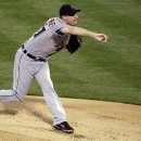 Detroit Tigers starting pitcher Max Scherzer deliversin the first inning of Game 4 of their American League division baseball series against the Oakland Athletics in Oakland, Calif., Wednesday, Oct. 10, 2012. (AP Photo/Eric Risberg)