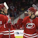 Carolina Hurricanes' Alexander Semin (28), of Russia, congratulates Jeff Skinner (53) following Skinner's goal against the Buffalo Sabres during the second period of an NHL hockey game in Raleigh, N.C., Thursday, Jan. 8, 2015. Carolina won 5-2 The Associa