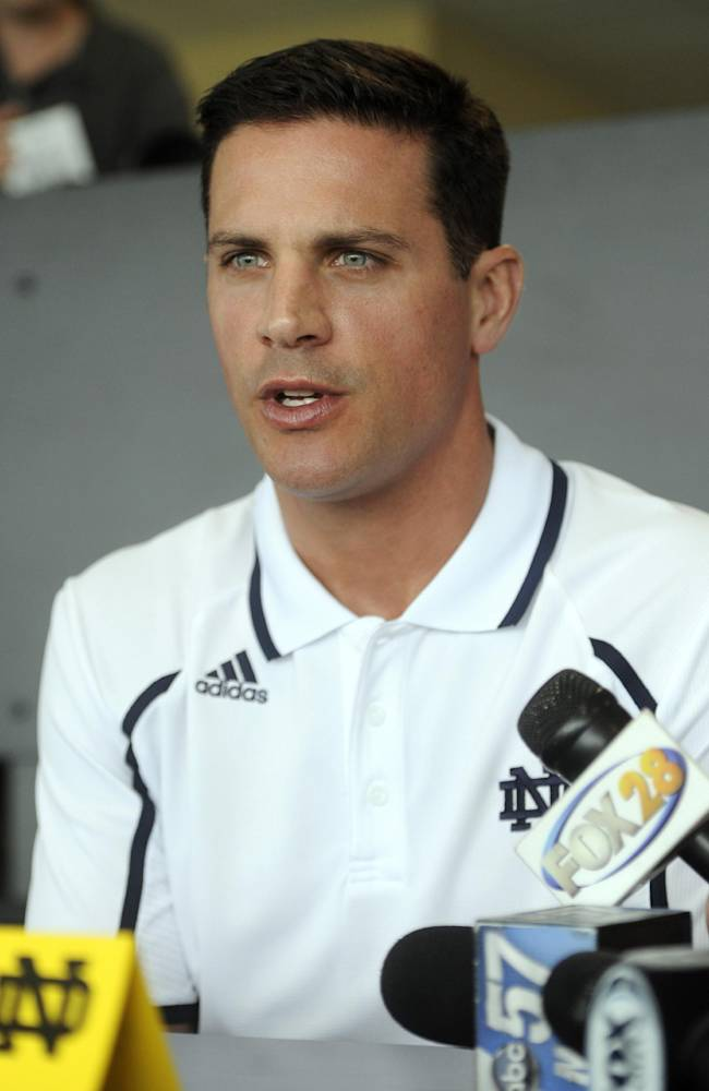 Notre Dame defensive coordinator Bob Diaco answers questions from the media at NCAA college football media day Thursday Aug. 22, 2013, in South Bend, Ind