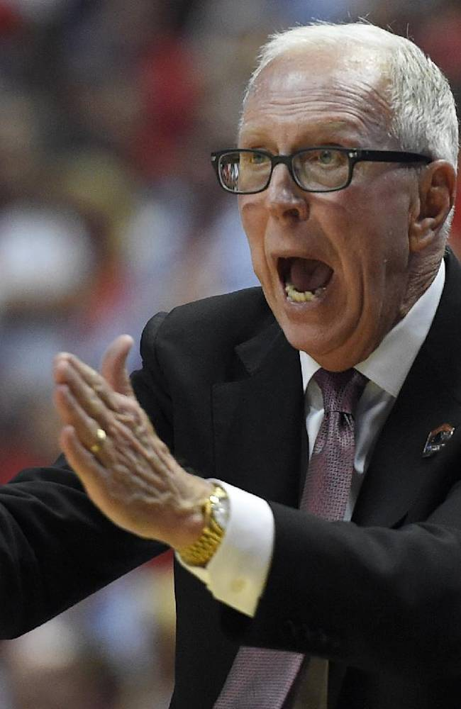 San Diego State head coach Steve Fisher yells during the second half in a regional semifinal NCAA college basketball tournament game against Arizona, Thursday, March 27, 2014, in Anaheim, Calif