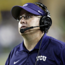 FILE - In this Aug. 30, 2014, file photo, TCU head coach Gary Patterson watches during the second half of an NCAA college football game against Samford in Fort Worth, Texas. Patterson was selected as The Associated Press college football coach of the year on Wednesday, Dec. 24, 2014. It was the second time he won the award. He also won in 2009. (AP Photo/Jim Cowsert, File)