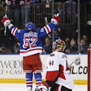 Ottawa Senators goalie Craig Anderson (41) watches as New York Rangers left wing Carl Hagelin celebrates after scoring the winning goal in the Rangers' 3-2 overtime victory in an NHL hockey game at Madison Square Garden in New York, Tuesday, Jan. 20, 2015