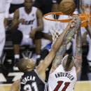 San Antonio Spurs power forward Tim Duncan (21) shoots against Miami Heat power forward Chris Andersen (11) during the second half of Game 6 of the NBA Finals basketball game, Tuesday, June 18, 2013 in Miami. (AP Photo/Wilfredo Lee)