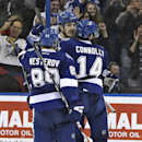 Tampa Bay Lightning center Brian Boyle, rear, celebrates his goal against the Vancouver Canucks with teammates Nikita Nesterov (89), of Russia, and Brett Connolly (14) during the third period of an NHL hockey game Tuesday, Jan. 20, 2015, in Tampa, Fla The