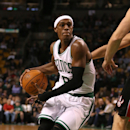 FILE - DECEMBER 18, 2014: Rajon Rondo of the Boston Celtics has been traded to the Dallas Mavericks as part of a multi-player trade. BOSTON, MA - NOVEMBER 05: Rajon Rondo #9 of the Boston Celtics drives to the basket against the Toronto Raptors at TD Garden on November 5, 2014 in Boston, Massachusetts. (Photo by Mike Lawrie/Getty Images)