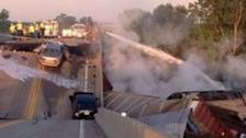 Missouri Cargo Trains Collide, Buckle Highway Overpass