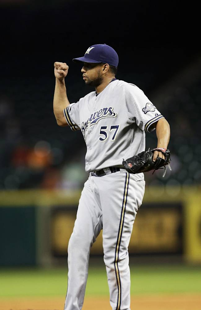 Milwaukee Brewers relief pitcher Francisco Rodriguez reacts after striking out Houston Astros' Ronny Cedeno to end the baseball game in the ninth inning Wednesday, June 19, 2013, in Houston. The Brewers beat the Astros 3-1